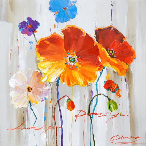 Revealed Artwork Primary Floral I Original Painting on Canvas