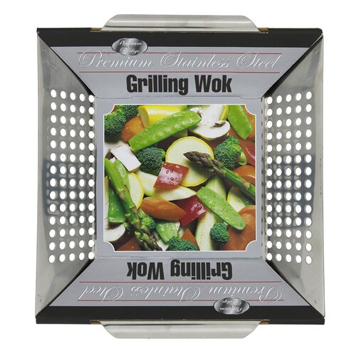 "Mr. Bar-B-Q 12"" x 12"" Platinum Prestige Stainless Steel Grilling Wok Topper"