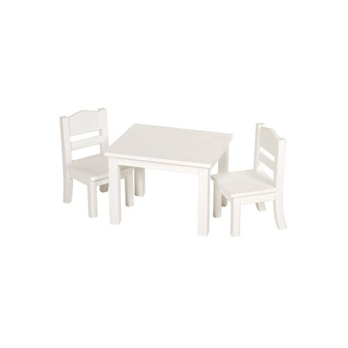 Doll Table and Chairs in White