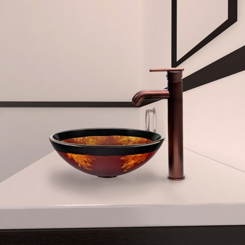 Vigo Fusion Glass Vessel Bathroom Sink with Seville Faucet