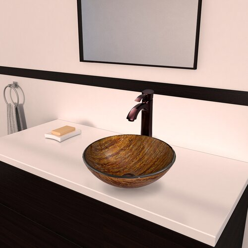 Amber Sunset Glass Vessel Bathroom Sink with Otis Faucet