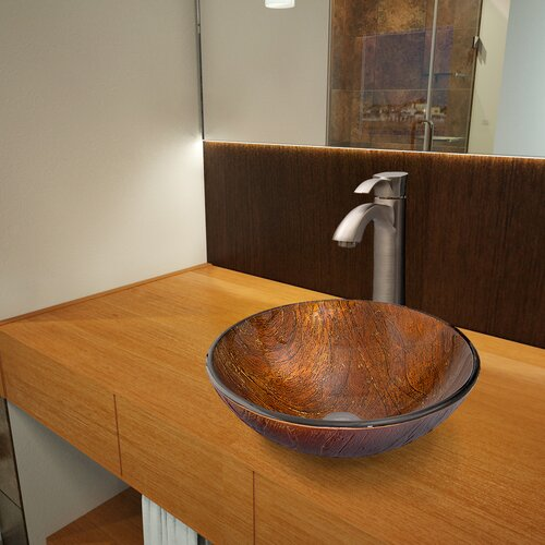 Kenyan Twilight Glass Vessel Bathroom Sink with Otis Faucet