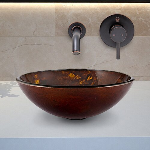 Fusion Glass Vessel Bathroom Sink with Olus Wall Mount Faucet