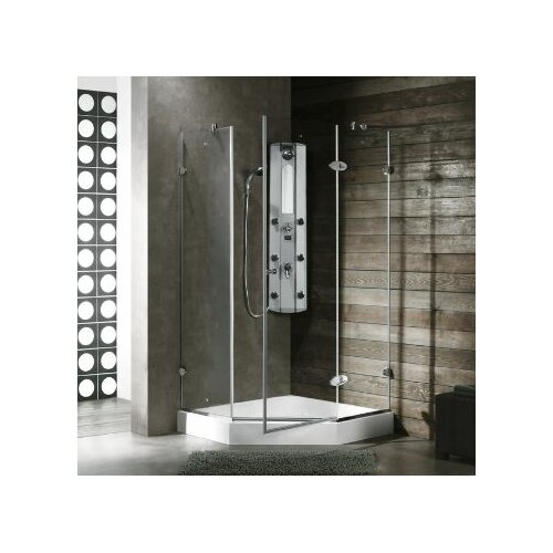 Vigo Neo-Angle Door Frameless Frosted Shower Enclosure with Left Handed Door
