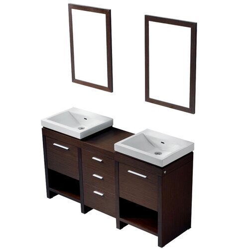 "Vigo Adonia 59.5"" Double Bathroom Vanity Set"