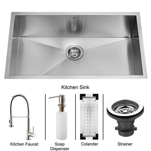 """Vigo 32"""" x 19"""" Undermount Kitchen Sink with Faucet, Colander, Strainer and Dispenser"""