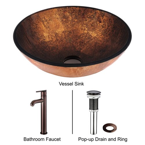 Vigo Russet Glass Bathroom Sink with Faucet