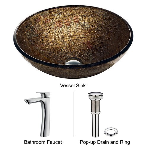 Vigo Glass Textured Bathroom Sink with Round-Edged Faucet