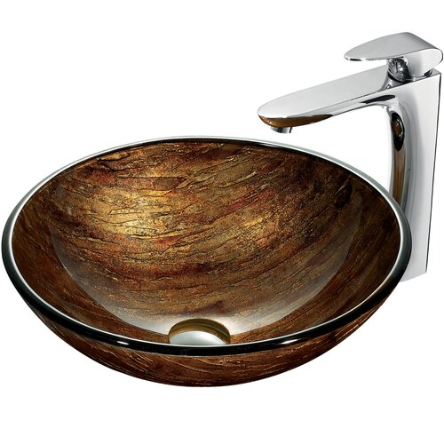 Amber Sunset Vessel Sink with Faucet