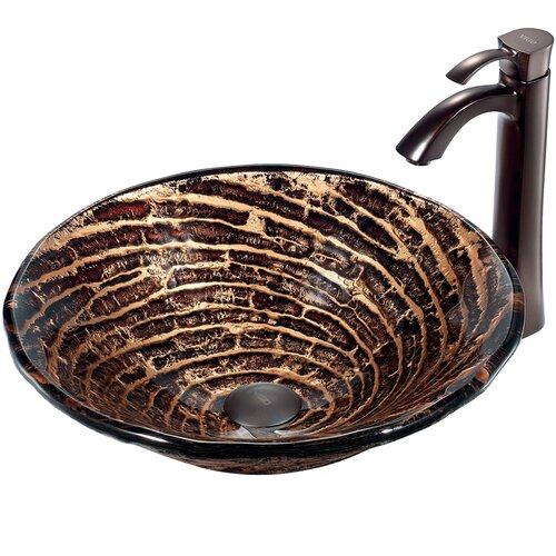 Caramel Vessel Sink with Faucet