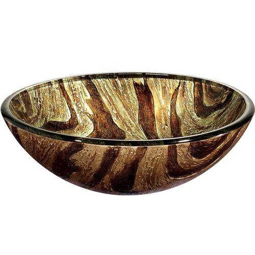Vigo Zebra Above The Counter Round Tempered Glass Vessel Sink