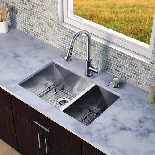 "Vigo All in One 29"" x 20"" Undermount Double Bowl Kitchen Sink with Faucet Set"