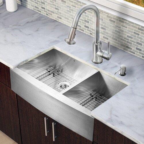 """25 Farm Sink Of Kitchen Lowes Double Chrome Kitchen Sink: Vigo All In One 36"""" X 22.25"""" Farmhouse Double Bowl Kitchen"""