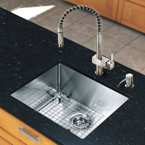"Vigo All in One 23"" x 20"" Undermount Kitchen Sink with Faucet Set"