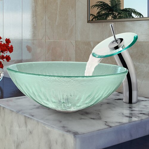 Vigo Icicles Glass Vessel Sink and Waterfall Faucet