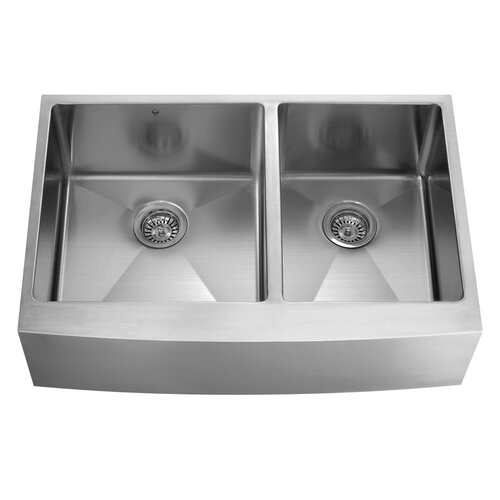 "Vigo 36"" x 22.25"" x 10"" Double Bowl Farmhouse Kitchen Sink"