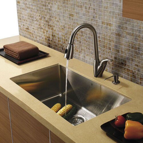 "Vigo 32"" x 19"" Undermount Zero Radius Single Bowl Kitchen Sink with Faucet and Soap Dispenser"