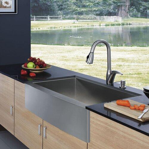 """Vigo 30"""" X 22.25"""" X 10"""" Farmhouse Single Bowl Kitchen Sink"""
