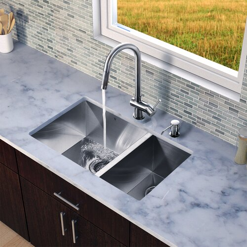 "Vigo 29"" x 20"" x 10"" Zero Radius Double Bowl Kitchen Sink with Pull-Out Faucet"