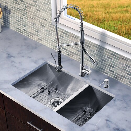 "Vigo 29"" x 20"" Zero Radius Double Bowl Kitchen Sink with Sprayer Faucet"