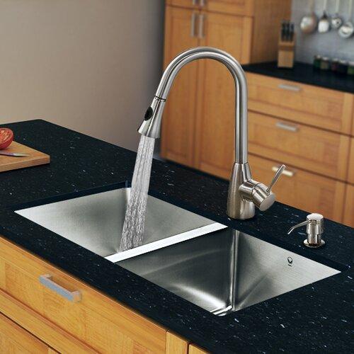 X 18 5 zero radius double bowl kitchen sink with - First outlet vigo ...