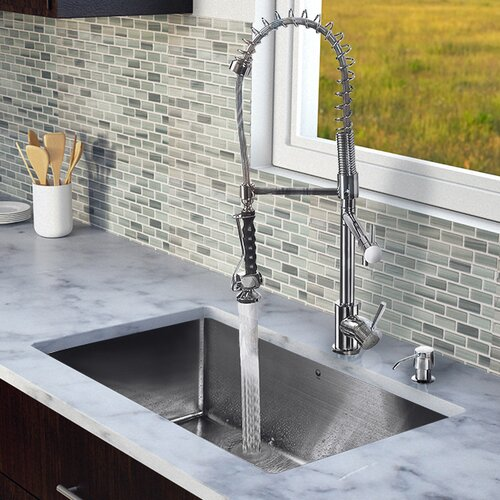 "Vigo 30"" x 19"" Single Bowl Kitchen Sink with Sprayer Faucet"