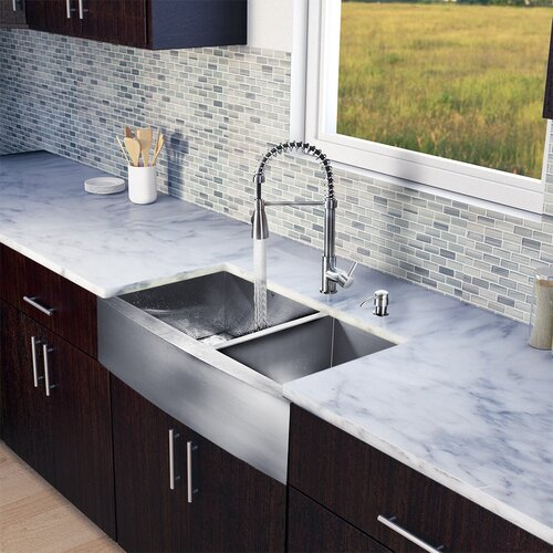 "Vigo All in One 36"" x 22.25"" Farmhouse Double Bowl Kitchen Sink and Faucet Set"