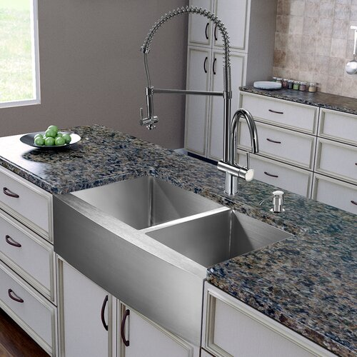 "Vigo All in One 36"" x 28"" x 22.25"" Farmhouse Double Bowl Kitchen Sink and Faucet Set"