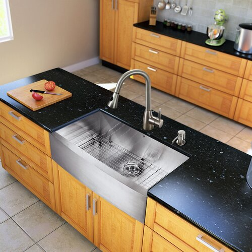 "Vigo All in One 36"" x 22.25"" x 16"" Farmhouse Kitchen Sink and Faucet Set"