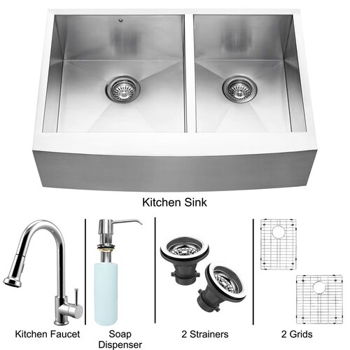 "Vigo All in One 33"" x 22.25"" x 15.12"" Farmhouse Double Bowl Kitchen Sink and Faucet Set"