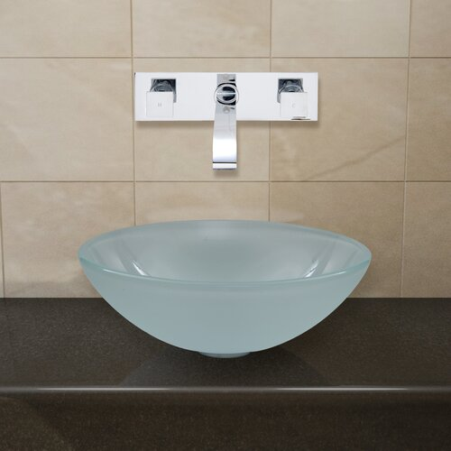 Vigo Glass Vessel Sink with Wall Mount Faucet