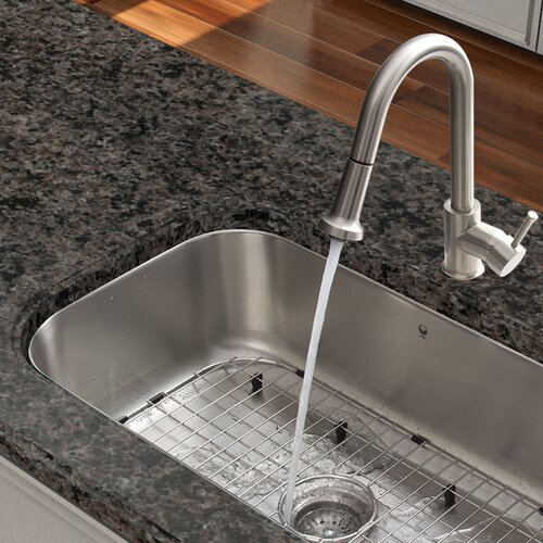 One Handle Single Hole Pull Out Spray Kitchen Faucet with Deck Plate