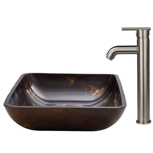 Fusion Glass Vessel Sink and Faucet Set