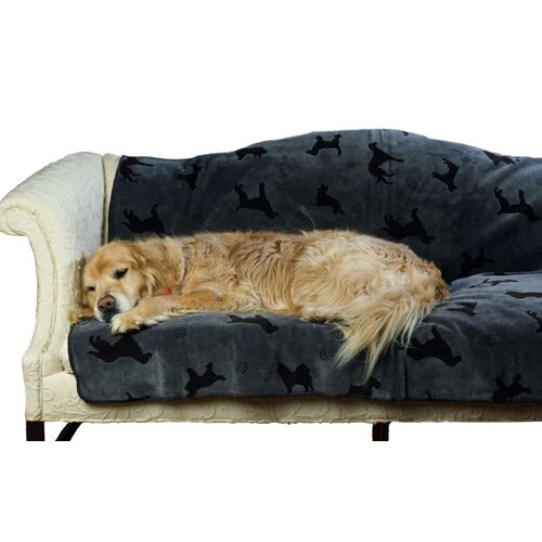 Zoey Tails Plush Embossed Dog Throw in Charcoal