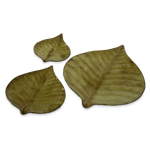 3 Piece Hoja Decorative Plate Set in Green