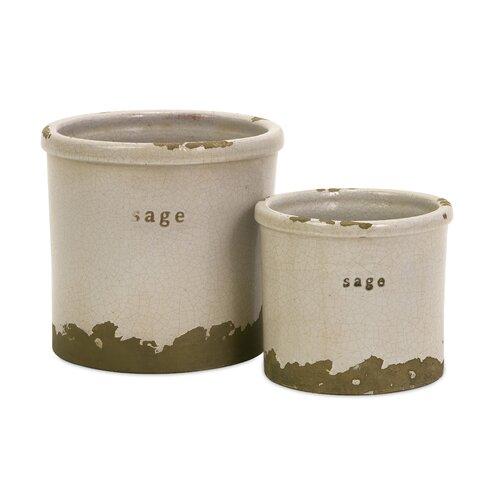 Sage Herb Pots - Set of 2