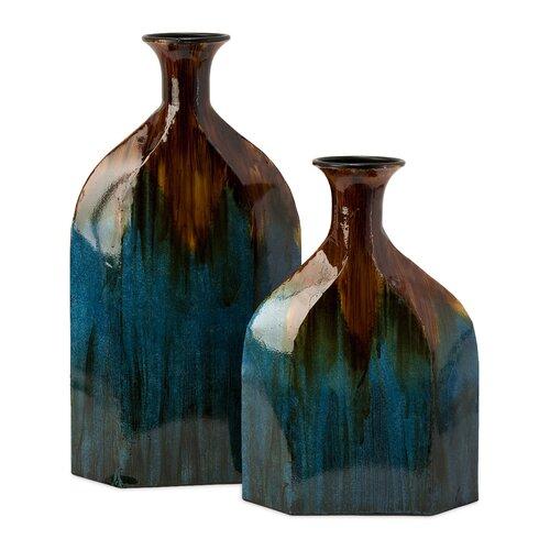 2 Piece Blaze Drip Vase Set