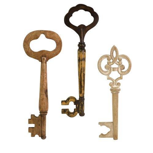 Mason 3 Piece Wood Wall keys Set