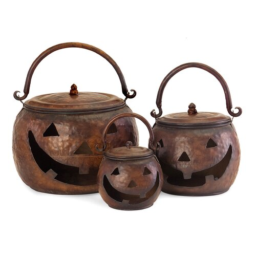 3 Piece Lidded Pumpkin Sculpture