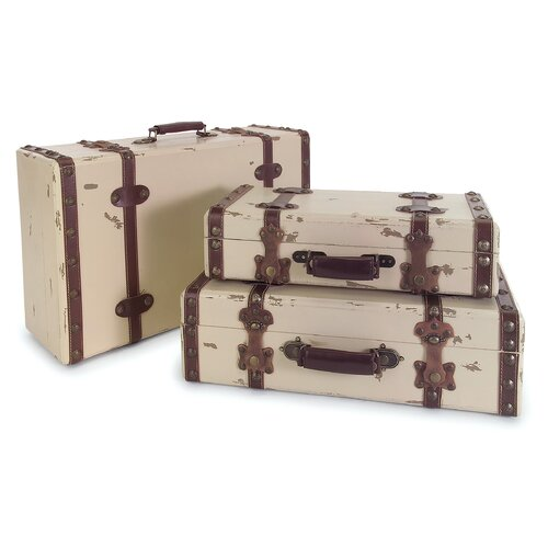 IMAX 3 Piece Suitcase Set in Antique Ivory