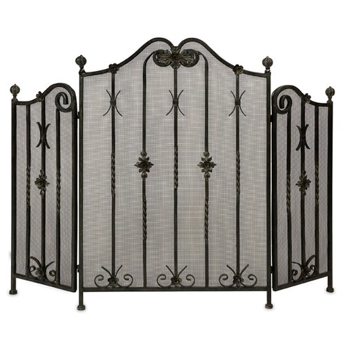 3 Panel Iron Fireplace Screen