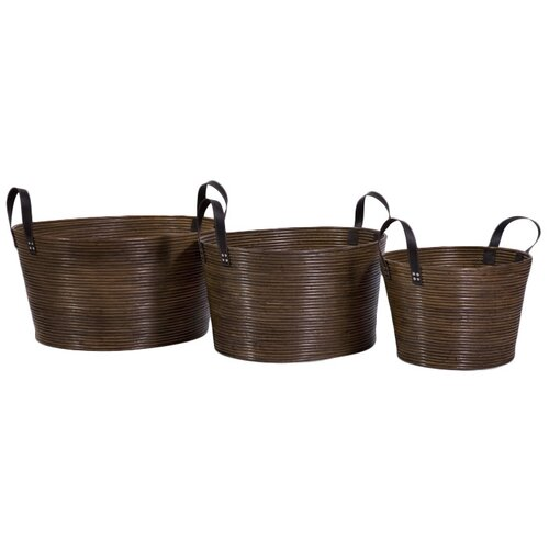 IMAX 3 Piece Oval Wrapped Rattan Basket Set with Handle