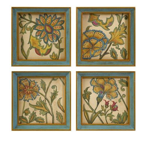 Elberta Handpainted 4 Piece Original Painting Plaque Set