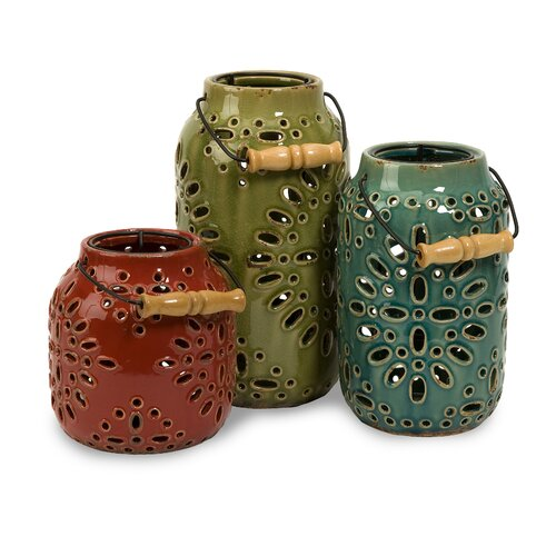 IMAX Luna Ceramic Lanterns (Set of 3)