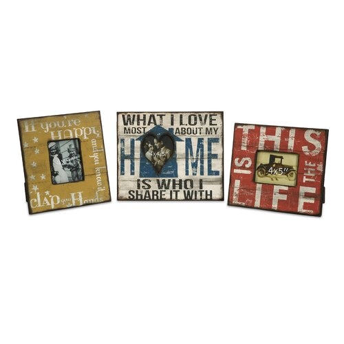 Morris Home Happy and Life Frames (Set of 3)