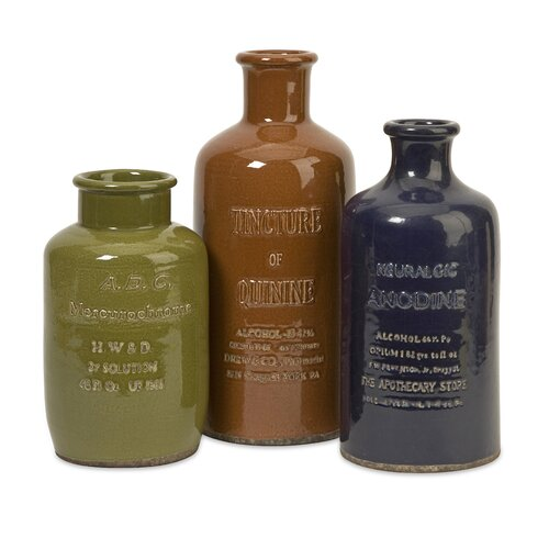 IMAX 3 Piece Vintage Ceramic Bottle Sculpture