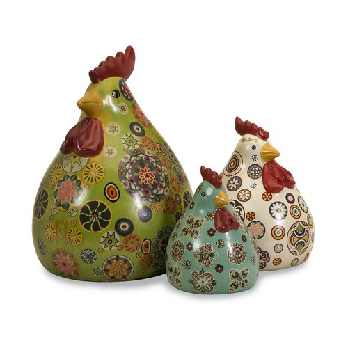 3 Piece Canvon Chickens Figurine