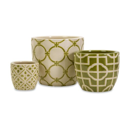 3 Piece Lattice Containers Vase Set