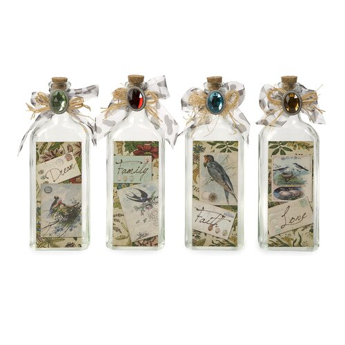 IMAX 4 Piece Postcard Greeting Decorative Bottle Set