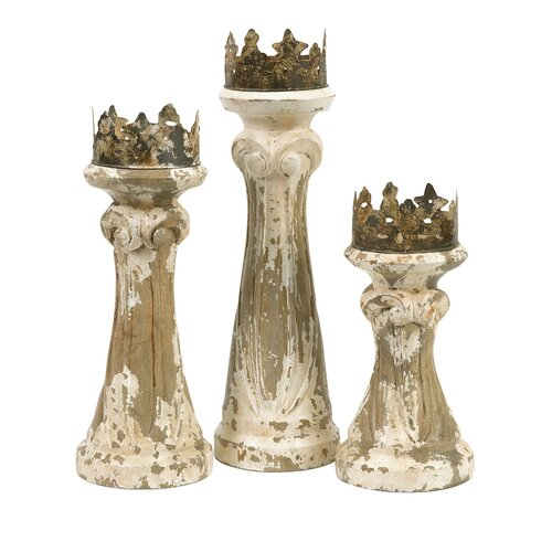 IMAX Feliciano Handcarved Mango Wood Candlesticks (Set of 3)